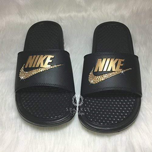 c8fd1d405c9e ... black 5dbbf c206c  discount code for gold nike bling nike slides custom  nike kicks bling nike sandals all sizes