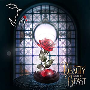 Beauty and The Beast Rose,Enchanted Red Silk Rose and Glass Dome Led Light with Fallen Petals Housewarming Gift for Valentine's Day Wedding Anniversary Mother's Day Party Supplies 2