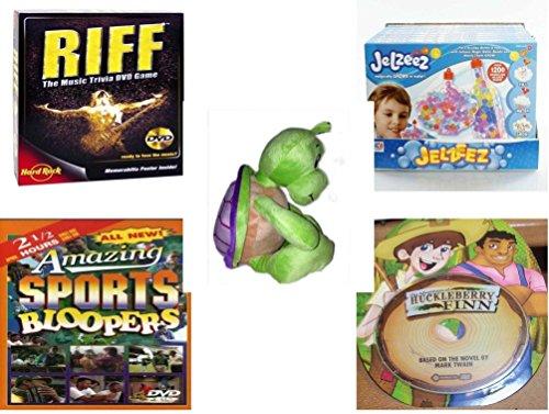 Children's Gift Bundle - Ages 6-12 [5 Piece] - Riff DVD Game - Jelzeez Frame & Bottle Kit Toy - Turtle Plush 14
