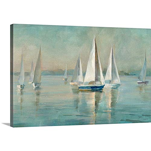 Sailboats at Sunrise Canvas Wall Art Print, 36