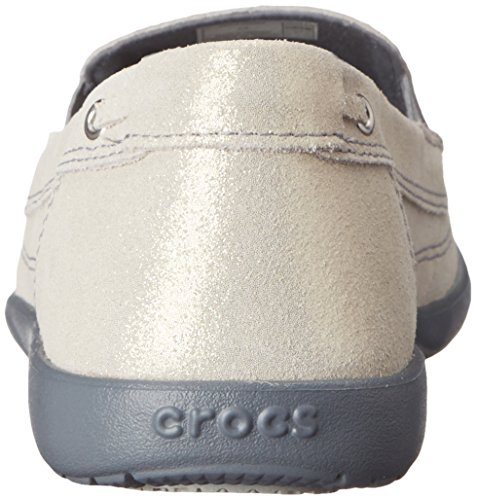 Crocs Mocasines de Cuero de cocodrilos Walu del Reflejo Light Gray-Charcoal