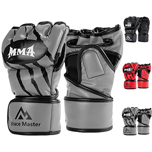Brace Master MMA Gloves UFC Gloves Leather More Paddding for Men Women Knuckle Wrist Protection, Fingerless Sparring Gloves for Training, Kickboxing, Muay Thai, Boxing, Punching (Gray, Small)