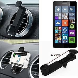 Titular Smartphone para el coche para Microsoft Lumia 640 Dual SIM. Parrilla del coche montaje del sostenedor del coche para el teléfono inteligente. De aplicación universal. Negro. Fácil de instalar, sujeción segura. Utilizar el teléfono como un dispositivo de navegación, o hacer llamadas durante la conducción a través del kit de coche. Simple, funcional, segura, cómoda, universal.