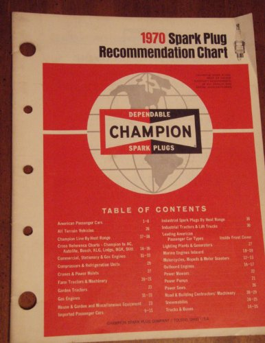 1970 Champion Spark Plug Recommendation Chart