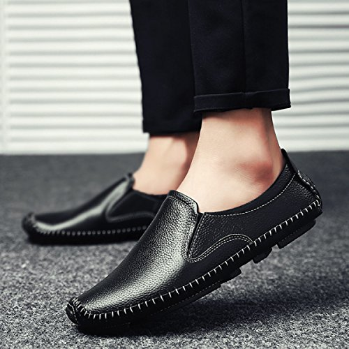 LYZGF Loisirs Jeunes Ensembles De Pieds Chaussures En Paresseux Hommes Mode Affaires Black Cuir qrqnFZp