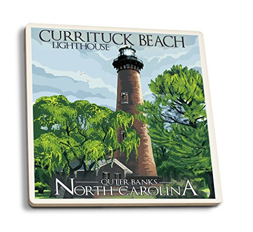 - Lantern Press Outer Banks, North Carolina - Currituck Beach Lighthouse Day Scene (Set of 4 Ceramic Coasters - Cork-Backed, Absorbent)