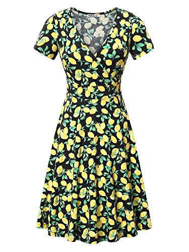 MSBASIC Floral T-Shirt Dress, Womens Casual V Neck A line Short Sleeve Flare Lemon Yellow Dress X-Large Floral-3 - Green Gardens Wrap Top
