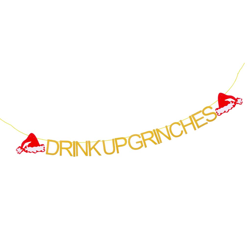 Gold Glittery Drink Up Grinches with Christmas Hat Banner Christmas Party Holiday Decoration Supplies