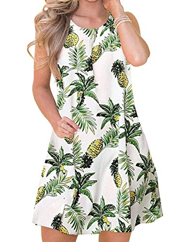 (Bibowa Short Dresses Mini Knee Length Beach Vacation Hawaiian Dress Shirts Pineapple S)