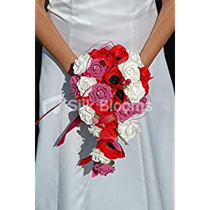 Pink, White Roses & Red Anemone Teardrop Brides Wedding Bouquet 9