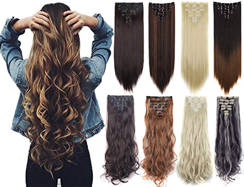 Lelinta 3-5 Days Delivery 7Pcs 16 Clips 23-24 Inch Thick Curly Straight Full Head Clip in on Double Weft Hair Extensions 20 Colors Dark Brown Mix Bleach Blonde-curly 24 Inch-160g