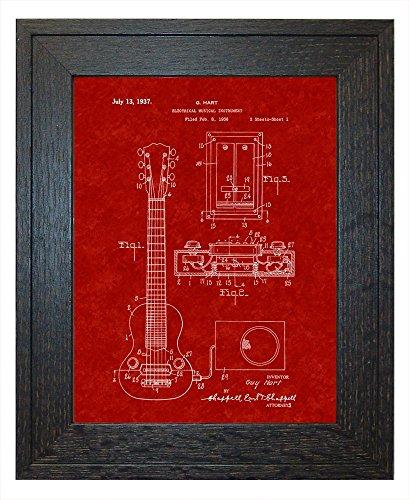 "Hart Electric Guitar Pickup Patent Art Burgundy Red Print in a Rustic Oak Wood Frame (8.5"" x 11"")"
