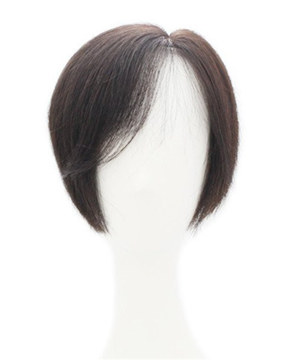 Mono Hair Piece for Women 10 Left Part Hair Topper with Bangs Human Hair for Thinning Hair (Bleach Blonde) Yair Yangtze