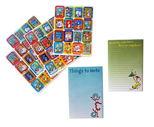 Dr Seuss Teacher Resource Stationary Set with a Things to Do Notepad, a Green Eggs and Ham Notepad and BONUS: 64 3D Lenticular Stickers for Better Communication with Students and Parents