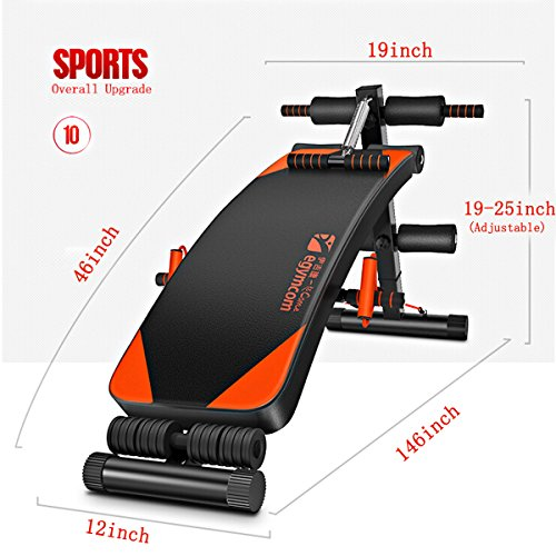 Sit Up Bench, egymcom Adjustable Abdominal Decline Bench Slant Board/Abs Workout Equipment