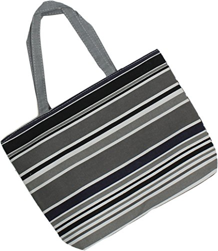 (ZUZIFY Over the Shoulder Cotton Canvas Zipper Tote Bag. ZUZ0015 One Size Grey Stripes)