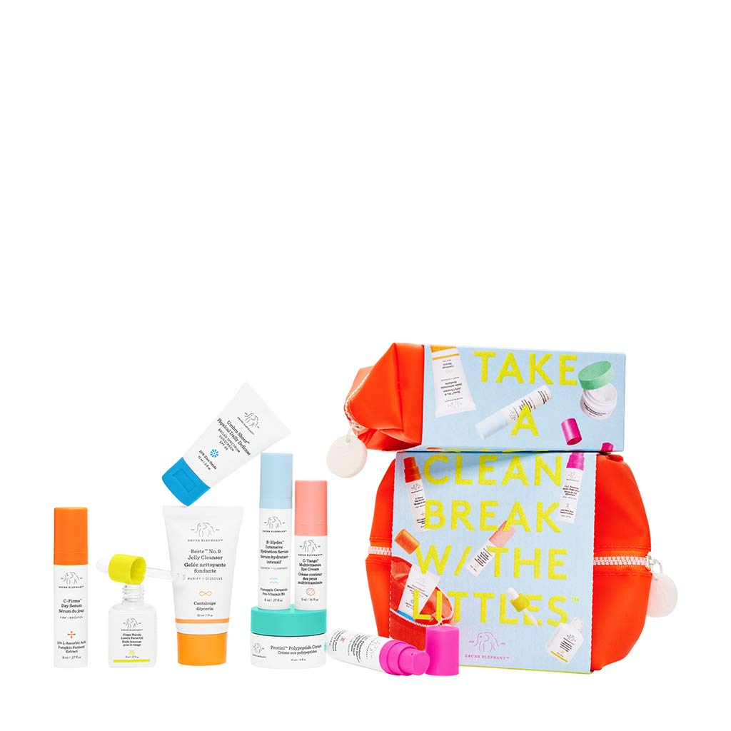 Drunk Elephant The Littles 4.0 Kit. Travel Size Skin Care Essentials Bundle w/Waterproof Bag (Jelly Cleanser, Facial Oil, SPF 30 Sunscreen, 3 Serums, Multivitamin Eye Cream, and Peptide Cream)