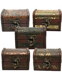 1Pc Vintage Metal Lock Wooden Storage Box Jewelry Treasure Organizer Chest Case Gift Box (Random)