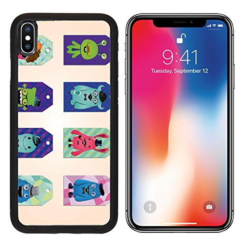 MSD Premium Apple iPhone X Aluminum Backplate Bumper Snap Case Tags collection with hipster monsters geometric patterns Image ID - Eyeglass Coupon