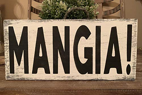 - PotteLove Rustic Wood Sign Mangia! Eat Home Decor Farmhouse Italian Kitchen Tuscany Wine