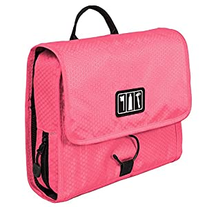 BAGSMART Hanging Travel Toiletry Bag Cosmetic Carryon Case Folding Makeup Organizer with Breathable Mesh Pockets Pink