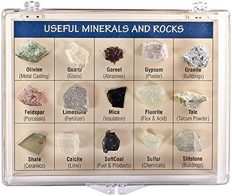Fantasia colección en Caja: minerales útiles y Rocas del Mundo en Caja de presentación – Set #9: Amazon.es: Hogar