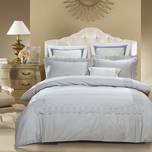 Superior Charlotte 100% Cotton Duvet Cover Set with 2 Pillow Shams, Dove Grey Duvet Cover with Embroidered Lace Borders - Full/Queen Size (Lace Border Eyelet)
