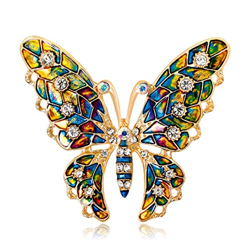 (NOMSOCR Crystal Butterfly Broochs Fashion Insect Themed Brooch Alloy Brooch Pin for Women Girl (Yellow))