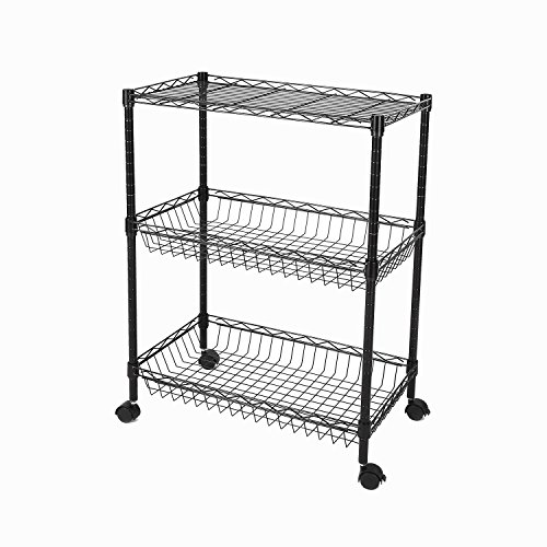 GEYUEYA Home Metal Printer Stand Microwave Oven Rack Cabinet Organizer (Black)