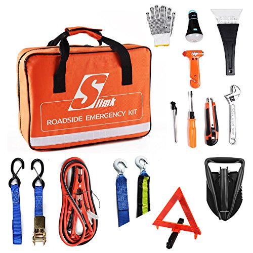SlimK Car Emergency Kit Roadside Safety Kit with Jumper Cables Folding Shovel,Heavy Duty Tow Rope,Safety Hammer Window breaker,Tie Down Straps Ratchet,Ice Scraper Well Organizer Road Assistance kit (Shovel Safety)