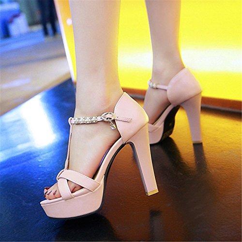 ZHZNVX Office para White polipiel talón novedad mujer toe de Boda verano Materiales peep Carrera sandalias Chunky personalizados Zapatos blanco comodidad 41H64