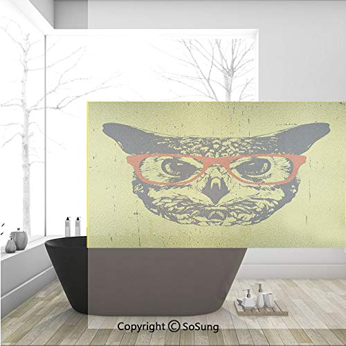 (3D Decorative Privacy Window Films,Owl with Glasses Portrait Hipster Nocturnal Animal Grunge Humor Graphic,No-Glue Self Static Cling Glass Film for Home Bedroom Bathroom Kitchen Office 36x24 Inch)