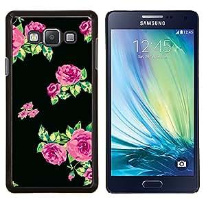 EJOOY---Cubierta de la caja de protección para la piel dura ** Samsung Galaxy A7 A7000 ** --patrón de vestido de las rosas de tela negro verde