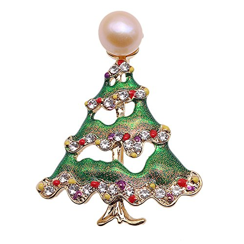 Pearl Cultured Gold Brooch (JYX Pearl Brooch Christmas Tree-style 10mm Pink Freshwater Cultured Brooch Pin Christmas)