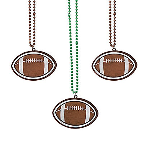 - 4 ~ Football Beaded Necklaces ~ Plastic ~ 15
