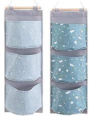 2 Packs Over The Door Organizer, Waterproof Wall Hanging Storage Bag with 3 Pockets for Bedroom & Nursery (Blue)
