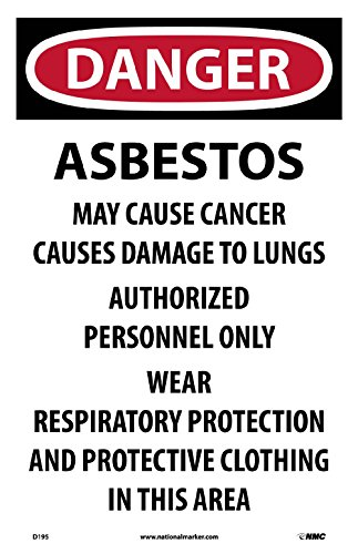 Asbestos Hazard - D195 National Marker Danger Asbestos Hazard Paper Sign (Pack of 100)