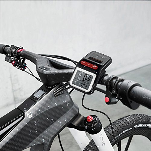 BOMEON Bike Speedometer Multifunction LCD Solar Power Bicycle Speedometer Odometer (Black)