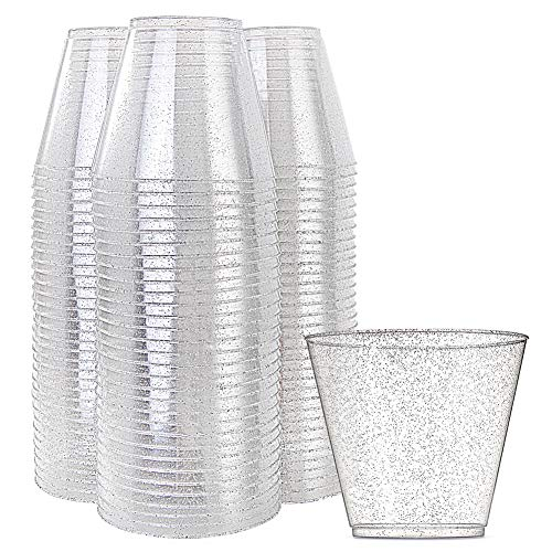 WDF 200pcs 9OZ Silver Cups, Disposable Silver Glitter Plastic Cups-Premium Wedding Cups-Party Cups ()