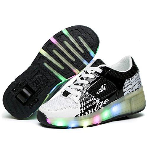 LILY999 LED Zapatos Niños Deporte Patín Ruedas Luminoso Formadores Flying Niños con 1 Ruedas Zapatillas Negro Blanco