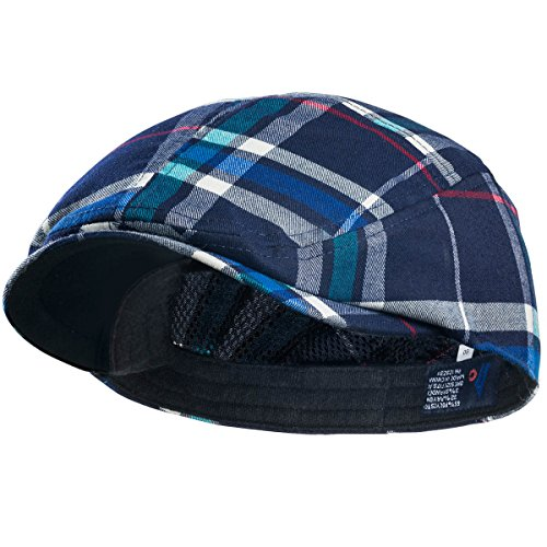 MG Plaid Ivy Newsboy Cap Hat (Large, Navy) ()