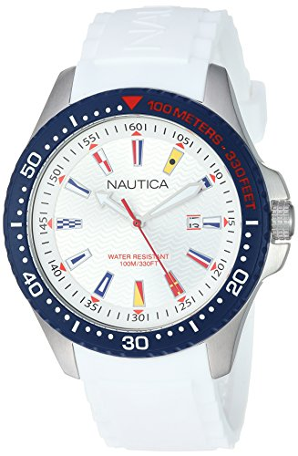 Nautica Men's 'JONES BEACH COLLECTION' Quartz Resin and Silicone Casual Watch, Color:White (Model: NAPJBC001)