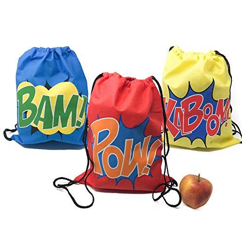 Superhero Drawstring Bag Party Supplies - Superhero Party Favors (12 -
