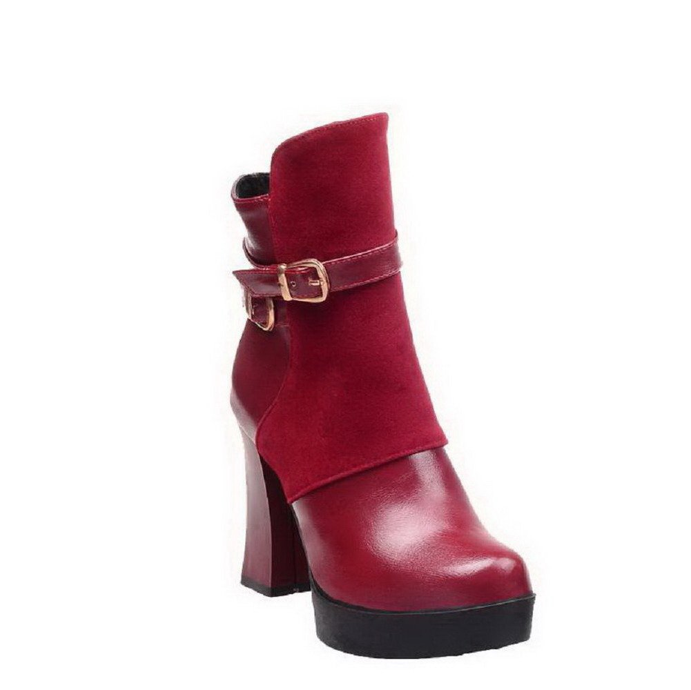 VogueZone009 Womens Round Closed Toe High-Heels Zipper Blend Materials Solid Boots, Claret, 41 by VogueZone009