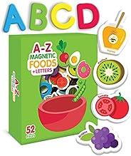 Curious Columbus alimentos y letras magnéticas para niños. Juego de 52 piezas incluye 26 imanes de espuma y 26
