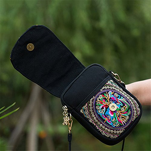 Black One Mini Dxlta Women Bags Bags Bags Crossbody Embroidery Embroidered Shoulder Black Vintage Rose Fashion qwnpRUO