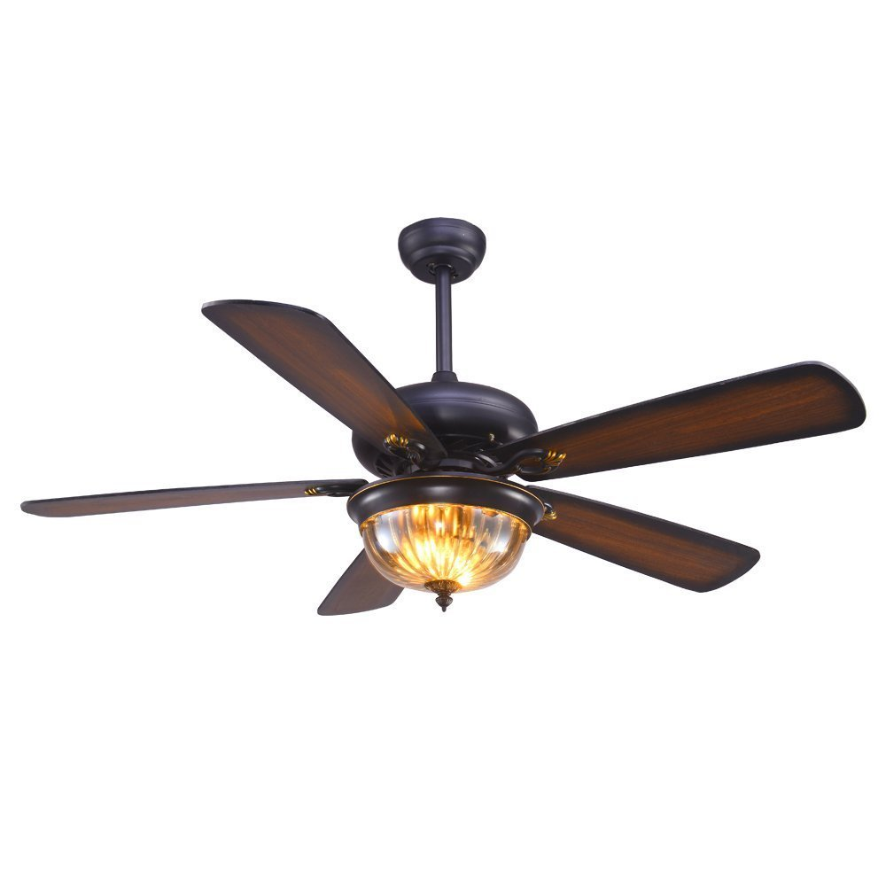 Tropicalfan Rustic Ceiling Fan With Remote Control One Glass Light Cover Home Decorations Fans Light Living Room Dinner Room 5 Wood Reversible Blades 48 Inch