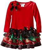 Bonnie Jean Little Girls' Stretch Velvet with Mesh Tiered Skirt, Red, 4T