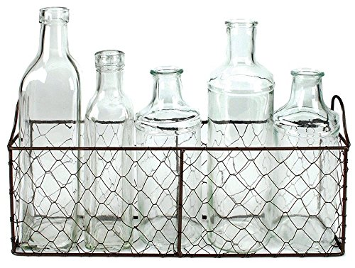 "Blossom Bucket Wire Basket with Five Assorted Size Glass Bottles, 12.50"" x 4.75"""