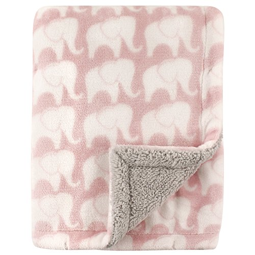 Hudson Baby Blanket with Sherpa Backing, Elephants, One Size ()